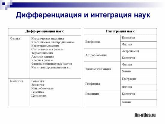 инфографика Дифференциация и интеграция наук