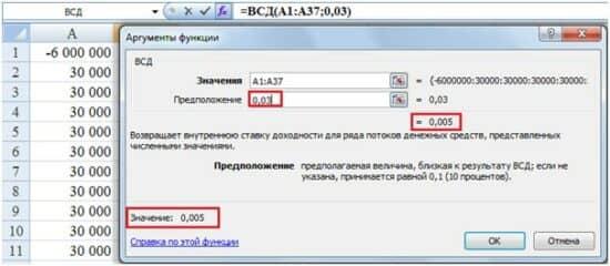Картинка пример расчета процента в Excel